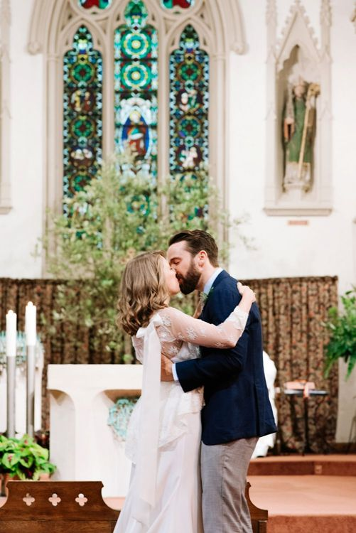 Church Wedding Ceremony | Bride in Delphine Manivet Gown | Groom in Navy Blazer & Grey Trousers | Fun Stretch Tent Reception on Primary School Field in Sheffield |  Tub of Jelly Photography