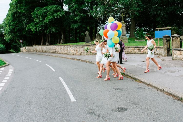 Colourful Balloons | Fun Stretch Tent Reception on Primary School Field in Sheffield |  Tub of Jelly Photography