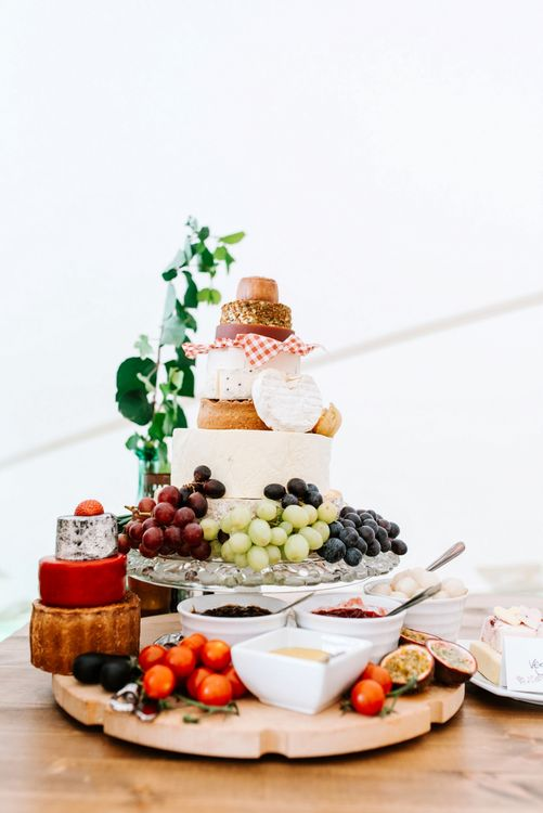 Cheese Tower Wedding Cake with Grapes & Chutney's | Fun Stretch Tent Reception on Primary School Field in Sheffield |  Tub of Jelly Photography