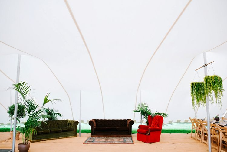 Vintage Sofa hire | Fun Stretch Tent Reception on Primary School Field in Sheffield |  Tub of Jelly Photography