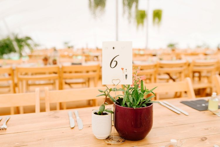 Potted Plant Table Decor | Fun Stretch Tent Reception on Primary School Field in Sheffield |  Tub of Jelly Photography