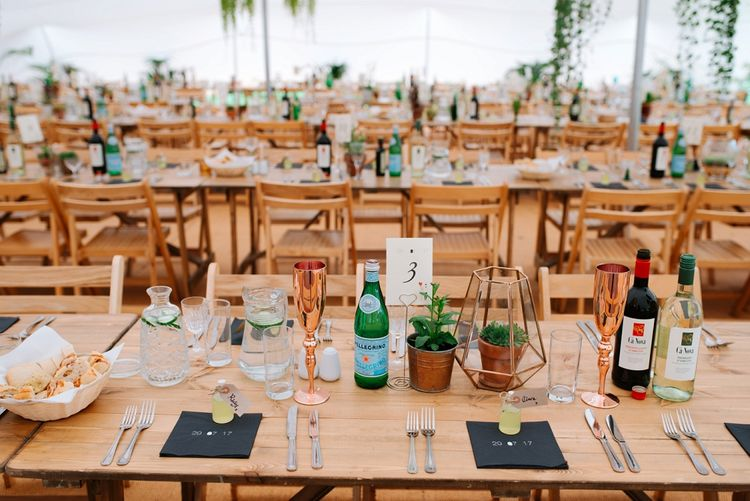 Trestle Tables | Potted Plants & Terrarium Decor | Fun Stretch Tent Reception on Primary School Field in Sheffield |  Tub of Jelly Photography