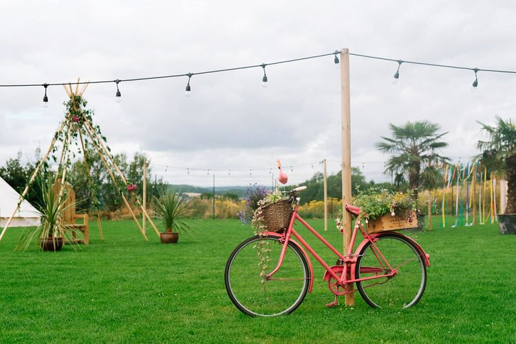 Vintage Bicycle & Naked Tipi Decor | Fun Stretch Tent Reception on Primary School Field in Sheffield |  Tub of Jelly Photography