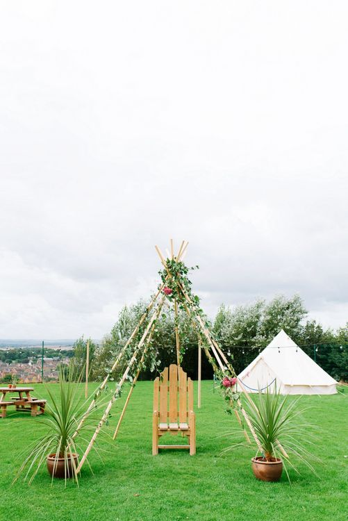 Naked Tipi & Bell Tent Wedding Decor | Fun Stretch Tent Reception on Primary School Field in Sheffield |  Tub of Jelly Photography