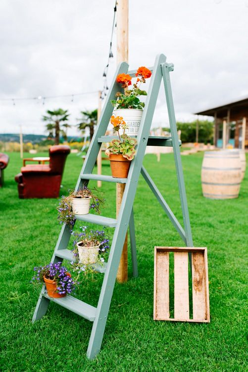 Vintage Step Ladder & Potted Plants Wedding Decor | Fun Stretch Tent Reception on Primary School Field in Sheffield |  Tub of Jelly Photography