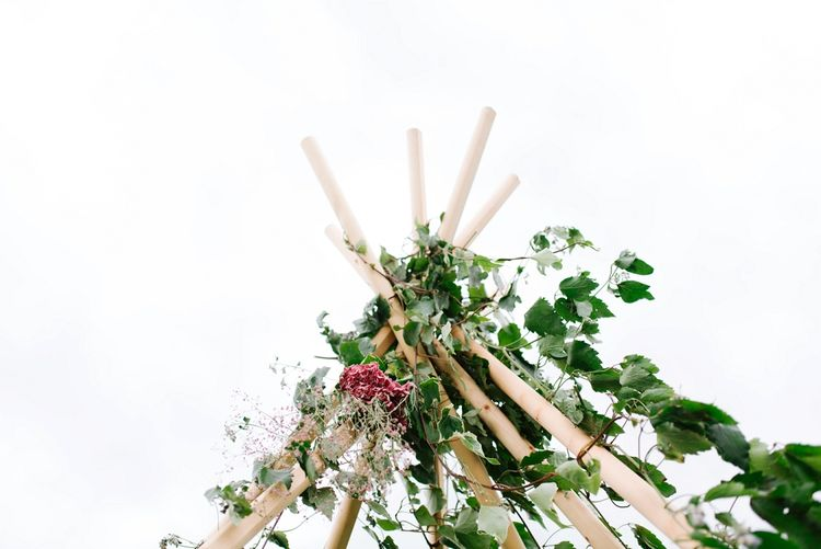 Naked Tipi with Ivy Decor | Fun Stretch Tent Reception on Primary School Field in Sheffield |  Tub of Jelly Photography