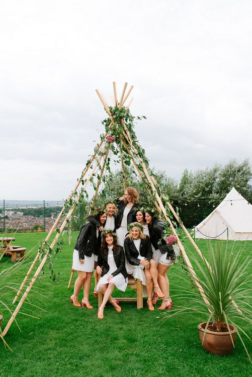 Bridal Party with Leather Jackets | Naked Tipi Wedding Decor | Bride in Delphine Manivet Gown | Fun Stretch Tent Reception on Primary School Field in Sheffield |  Tub of Jelly Photography