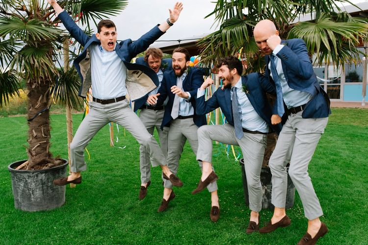 Groomsmen in Navy Blazers & Grey Trousers | Fun Stretch Tent Reception on Primary School Field in Sheffield |  Tub of Jelly Photography