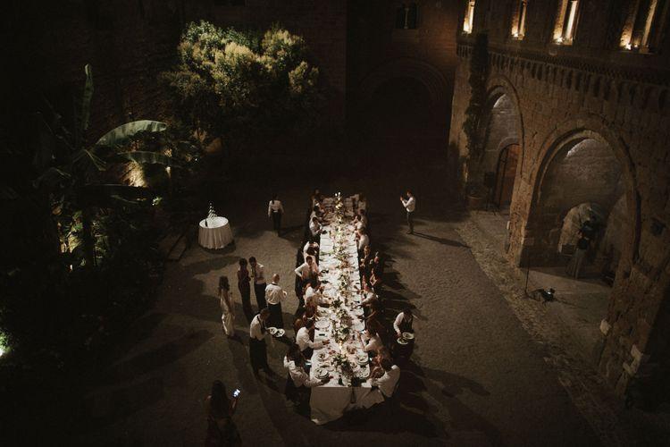 Wedding Reception at La Badia Di Orvieto Italy   Prosecco Tower   Intimate Italian Castle Wedding with Prosecco Tower   James Frost Photography