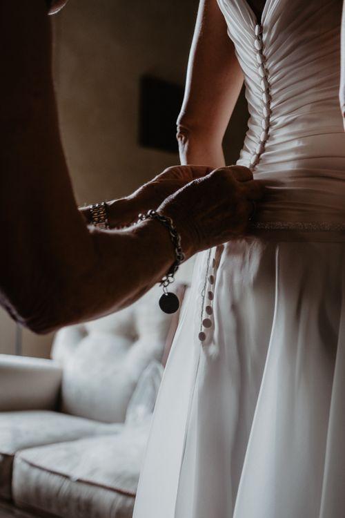 Button back wedding dress for Italian wedding