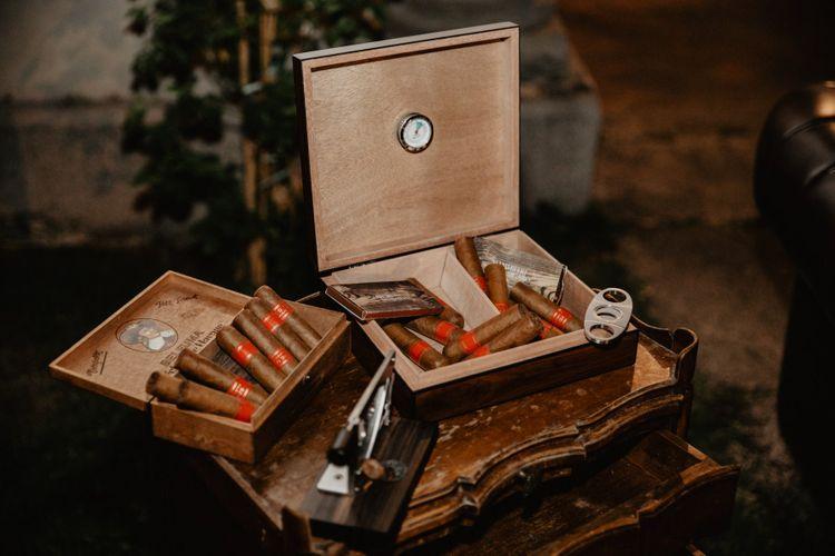 Cigar bar station at Italian wedding
