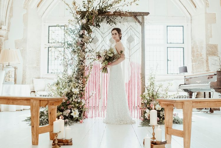 Bride in Half Penny London Gown | Macrame & Floral Altar Wedding Decor | Classical Springtime Romance Inspiration at Butley Priory by Brown Birds Weddings | Jess Soper Photography