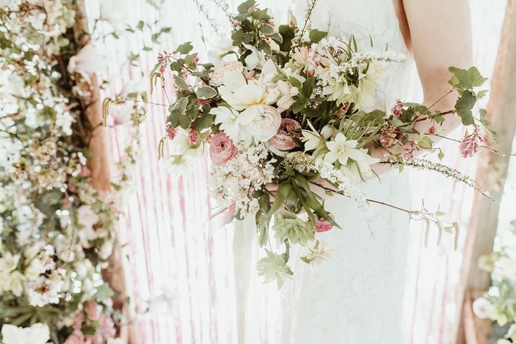 White, Pink & Green Oversized Bouquet | Bride in Half Penny London Gown | Macrame & Floral Altar Wedding Decor | Classical Springtime Romance Inspiration at Butley Priory by Brown Birds Weddings | Jess Soper Photography