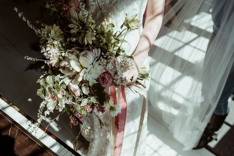 White, Pink & Green Oversized Bouquet with Ribbons | Bride in Half Penny London Gown | Classical Springtime Romance Inspiration at Butley Priory by Brown Birds Weddings | Jess Soper Photography