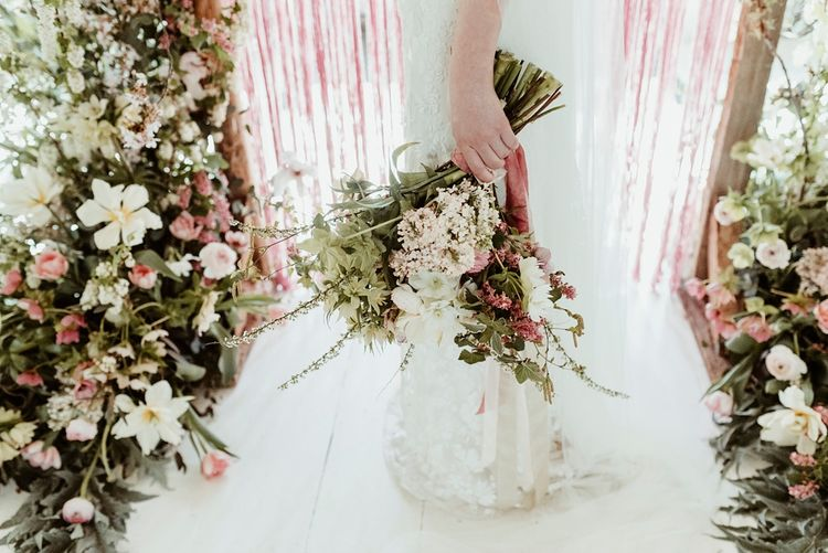 Oversized Bridal Bouquet | Bride in Half Penny London Gown | Macrame & Floral Altar Wedding Decor | Classical Springtime Romance Inspiration at Butley Priory by Brown Birds Weddings | Jess Soper Photography