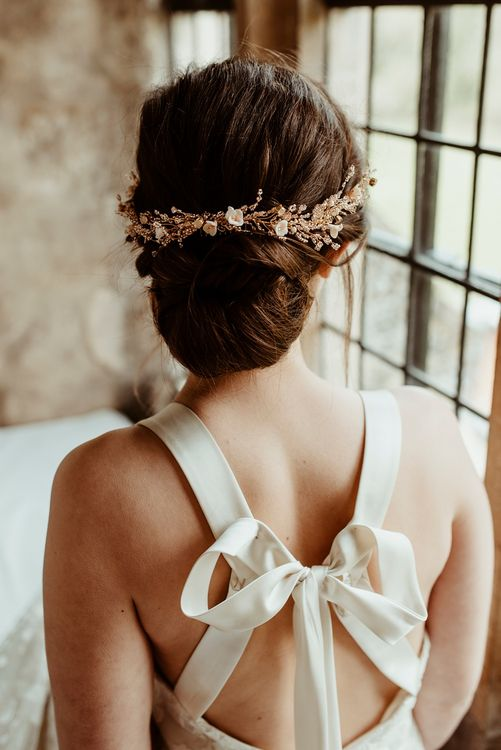 Bridal Up Do with Gold Hair Vine | Halfpenny London Bow Back Wedding Dress | Classical Springtime Romance Inspiration at Butley Priory by Brown Birds Weddings | Jess Soper Photography