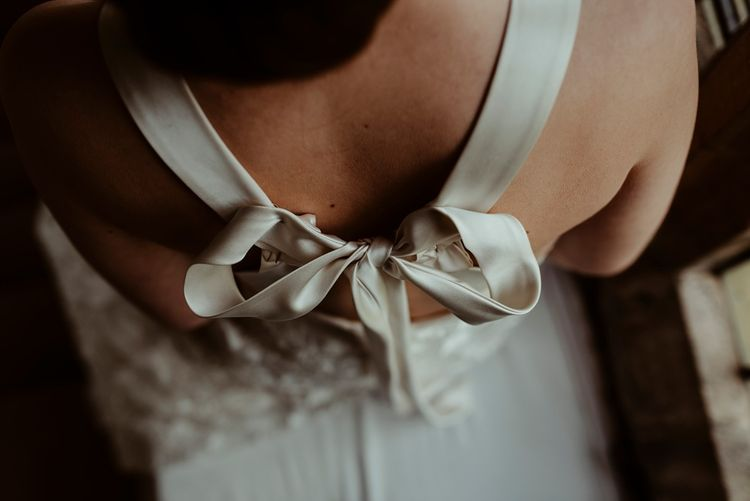 Halfpenny London Bow Back Wedding Dress | Classical Springtime Romance Inspiration at Butley Priory by Brown Birds Weddings | Jess Soper Photography