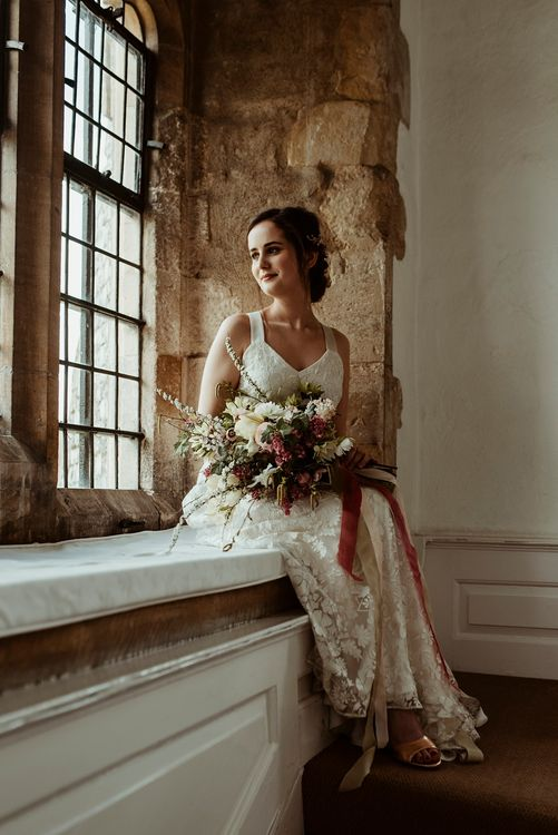 Bride in Half Penny London Gown | Oversized Bridal Bouquet | Classical Springtime Romance Inspiration at Butley Priory by Brown Birds Weddings | Jess Soper Photography