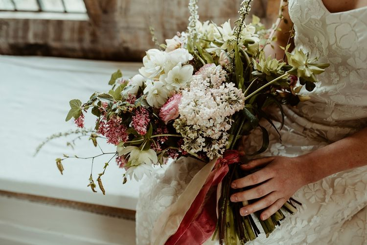 Oversized White, Green & Pink Bridal Bouquet | Classical Springtime Romance Inspiration at Butley Priory by Brown Birds Weddings | Jess Soper Photography