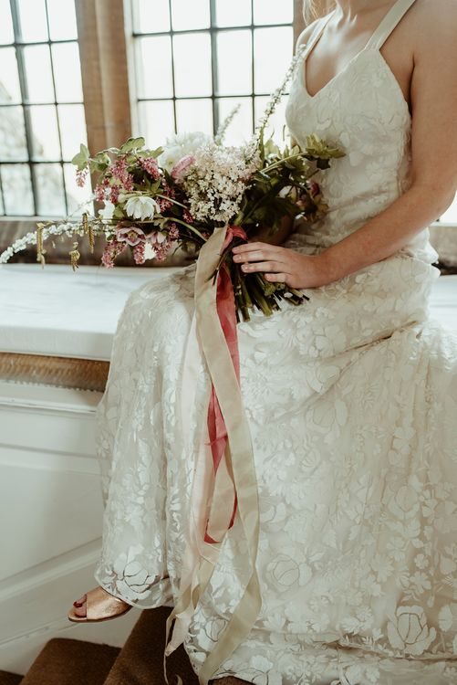Bride in Half Penny London Gown | Oversized Bridal Bouquet with Ribbon | Classical Springtime Romance Inspiration at Butley Priory by Brown Birds Weddings | Jess Soper Photography