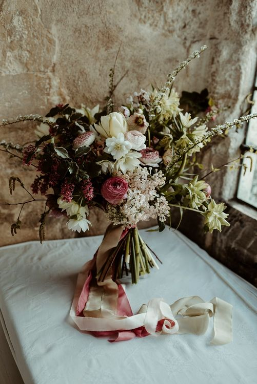 Oversized Bridal Bouquet with Ribbon | Classical Springtime Romance Inspiration at Butley Priory by Brown Birds Weddings | Jess Soper Photography