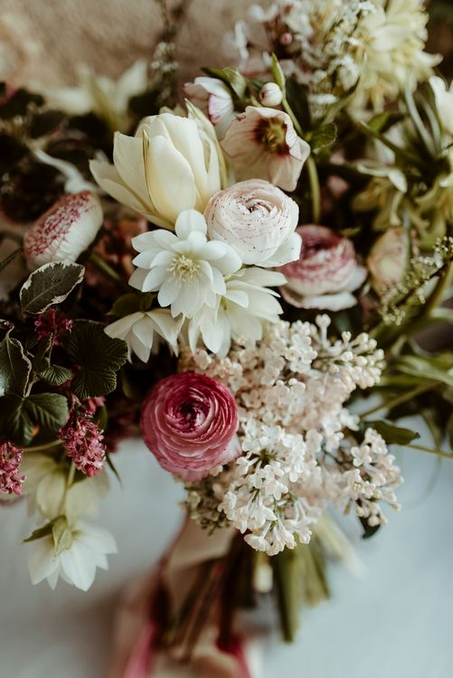 Pink, White & Green Spring Bridal Bouquet | Classical Springtime Romance Inspiration at Butley Priory by Brown Birds Weddings | Jess Soper Photography