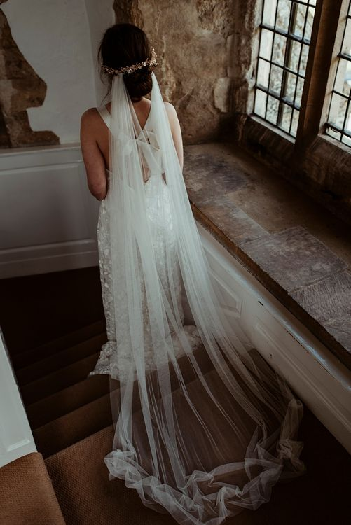 Bride in Half Penny London Gown & Veil | Classical Springtime Romance Inspiration at Butley Priory by Brown Birds Weddings | Jess Soper Photography