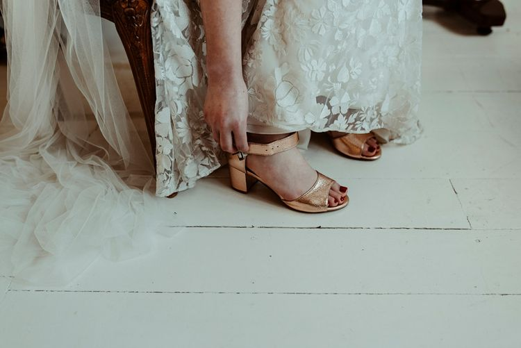 Gold Shoes | Bride in Half Penny London Gown & Veil | Classical Springtime Romance Inspiration at Butley Priory by Brown Birds Weddings | Jess Soper Photography