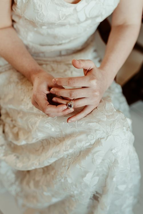 Diamond Engagement Ring | Bride in Half Penny London Gown | Classical Springtime Romance Inspiration at Butley Priory by Brown Birds Weddings | Jess Soper Photography