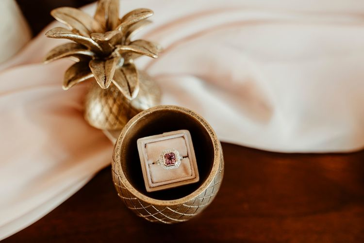 Diamond Engagement Ring in Gold Pineapple Trinket Box | Classical Springtime Romance Inspiration at Butley Priory by Brown Birds Weddings | Jess Soper Photography