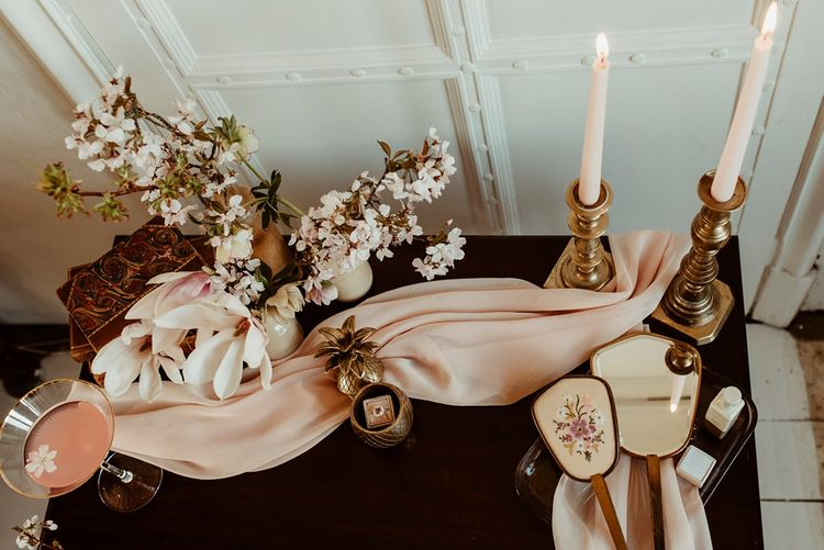 Vintage Pink Dresser with Tapper Candles |  | Classical Springtime Romance Inspiration at Butley Priory by Brown Birds Weddings | Jess Soper Photography