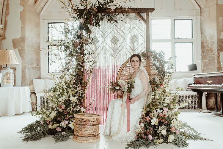 Bride in Half Penny London Gown | Peacock Chair, Macrame & Floral Altar Wedding Decor | Classical Springtime Romance Inspiration at Butley Priory by Brown Birds Weddings | Jess Soper Photography