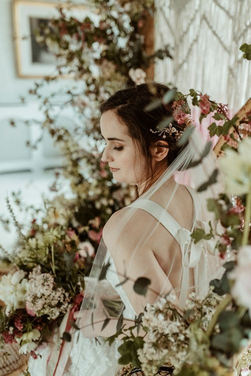 Bride in Half Penny London Gown & Veil | Peacock Chair, Macrame & Floral Altar Wedding Decor | Classical Springtime Romance Inspiration at Butley Priory by Brown Birds Weddings | Jess Soper Photography