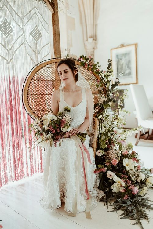 Bride in Half Penny London Gown | Peacock Chair & Floral Wedding Decor | Classical Springtime Romance Inspiration at Butley Priory by Brown Birds Weddings | Jess Soper Photography
