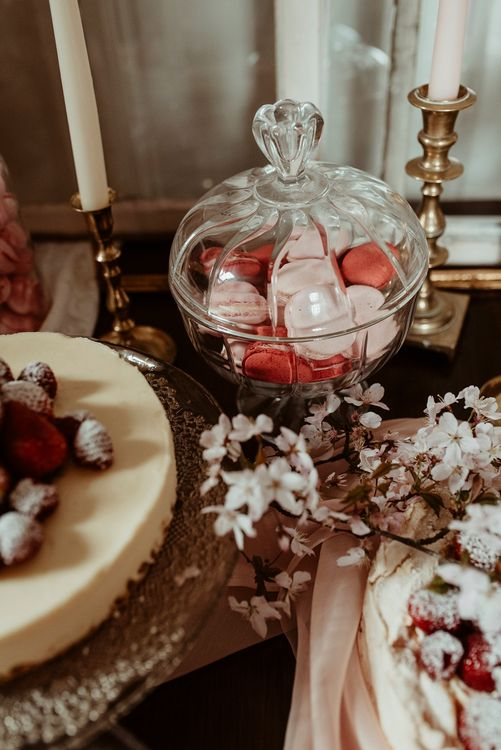 Macaroons | Blush Pink Dessert Table | Classical Springtime Romance Inspiration at Butley Priory by Brown Birds Weddings | Jess Soper Photography