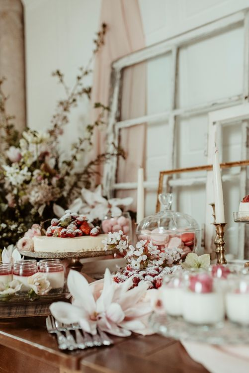 Delicious Dessert Table with Cheesecake & Macaroons | Classical Springtime Romance Inspiration at Butley Priory by Brown Birds Weddings | Jess Soper Photography