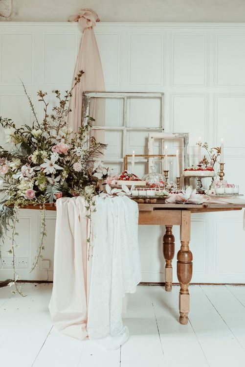 Dessert table with Floral Arrangement | Classical Springtime Romance Inspiration at Butley Priory by Brown Birds Weddings | Jess Soper Photography