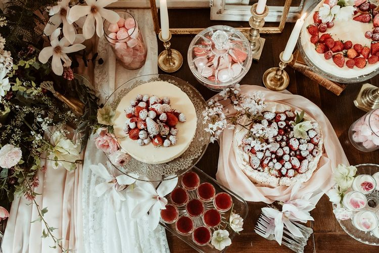 Blush Pink Dessert Table with Cheesecakes & Macaroons | Classical Springtime Romance Inspiration at Butley Priory by Brown Birds Weddings | Jess Soper Photography