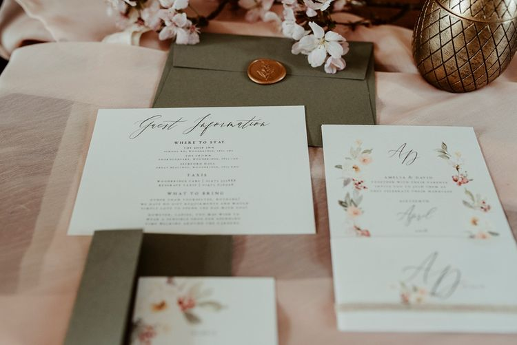 Romantic Woodland Invites Wedding Stationery | Classical Springtime Romance Inspiration at Butley Priory by Brown Birds Weddings | Jess Soper Photography
