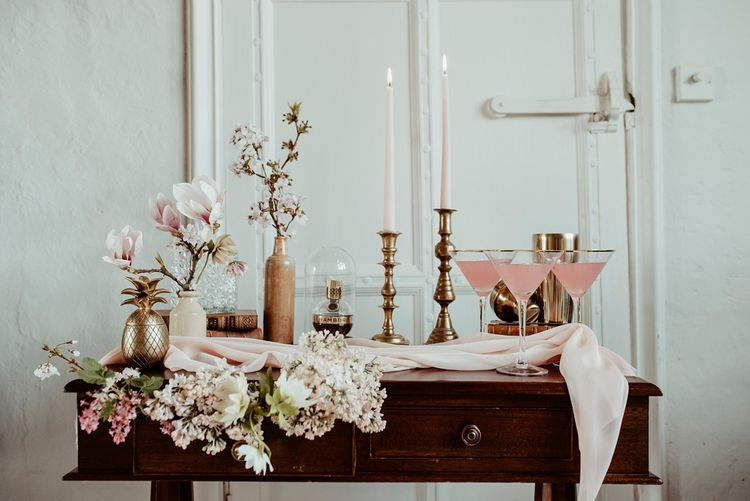 Vintage Dresser Drinks Table with Blush Pink Cocktail & Flowers | Classical Springtime Romance Inspiration at Butley Priory by Brown Birds Weddings | Jess Soper Photography