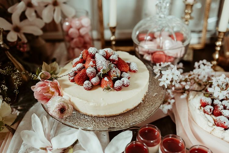 Blush Pink Dessert Table | Cheesecake with Berries  | Classical Springtime Romance Inspiration at Butley Priory by Brown Birds Weddings | Jess Soper Photography