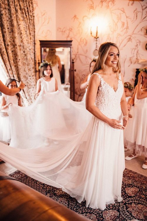 Bridal preparations at Dewsall Court venue