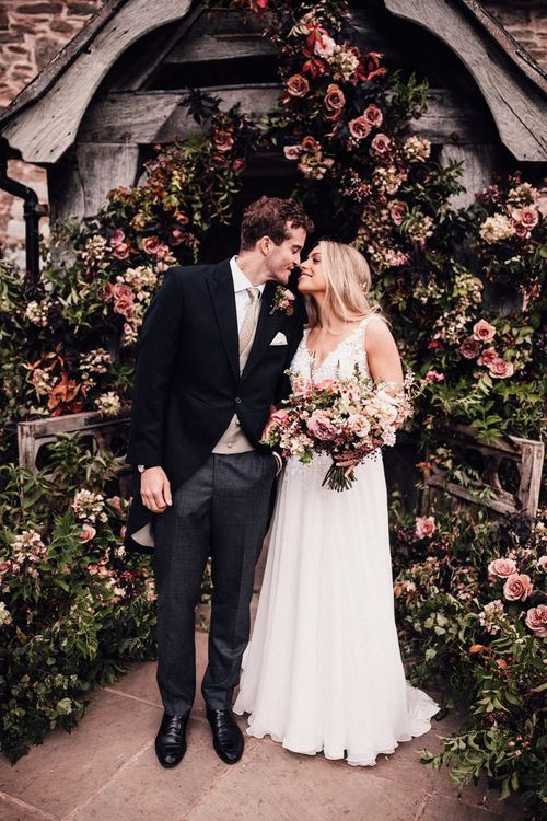 Pink wedding flowers for church ceremony