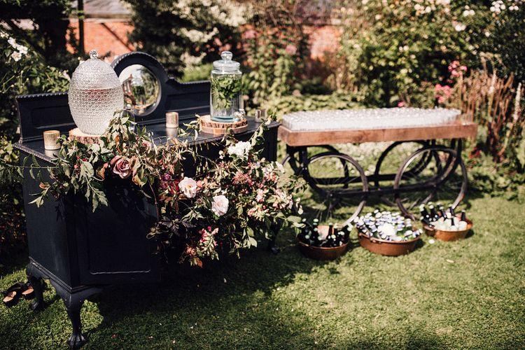 Rustic wedding decor at Dewsall Court