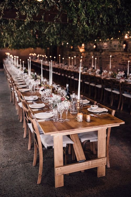 Trestle table wedding breakfast decor at Dewsall Court