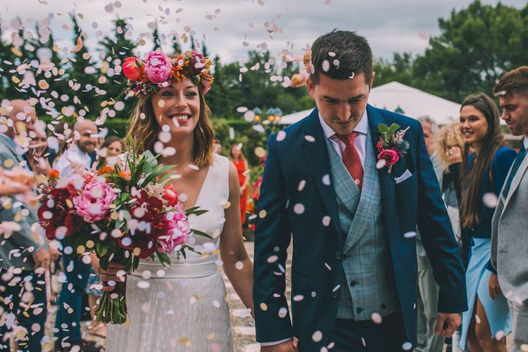 Confetti Exit For Bride and Groom With Peony Bouquet and Flower Crown For Bride