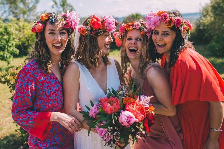 Flower crown for bride and bridesmaids in France