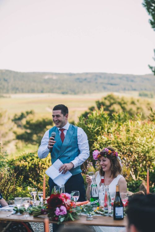 Groom Makes a Wedding Speech With Flower Crown For Bride