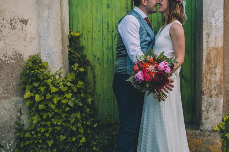 Pink Wedding Bouquet With Charlie Brear Wedding Dress