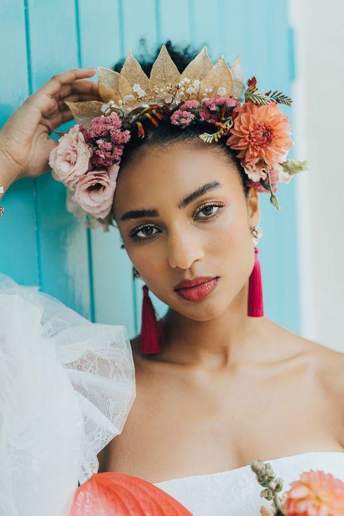 Gold leaf and flower headdress bridal accessory